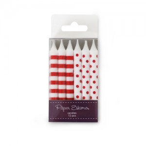 Candles ~ Candy Red Stripes & Spots