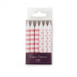 Candles ~ Pink Floss Stripes & Spots