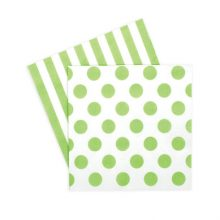 Paper Napkins ~ Apple Green Spots & Stripes