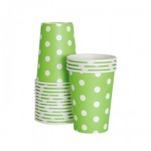 Paper Cups ~ Apple Green Polka Dots