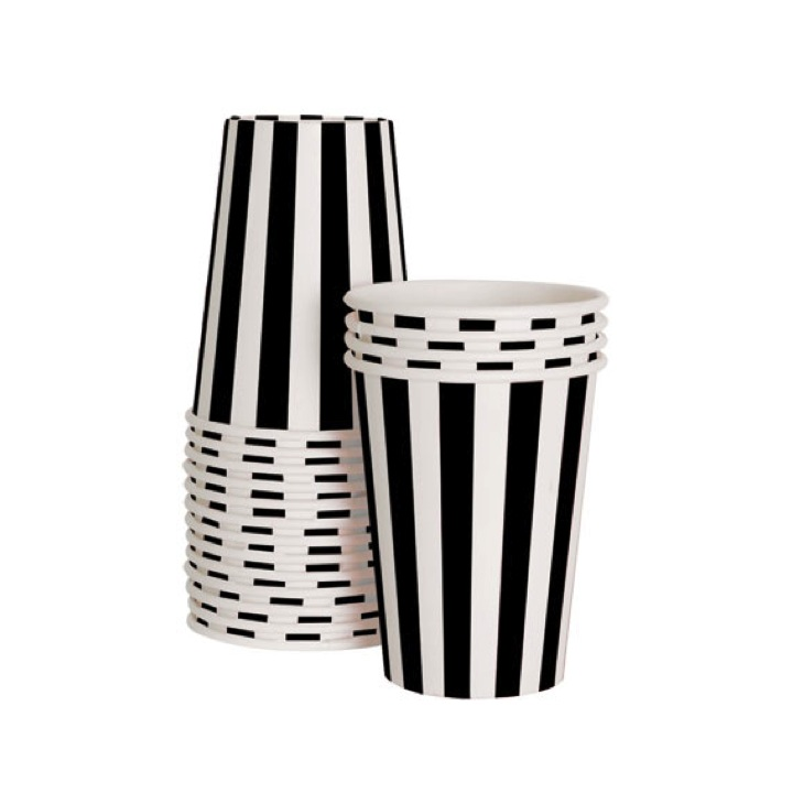 Paper Cups ~ Black Stripes