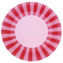 Paper Plates ~ Pink Floss Stripes