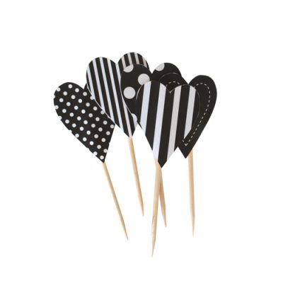 Cupcake Toppers ~ Black Hearts