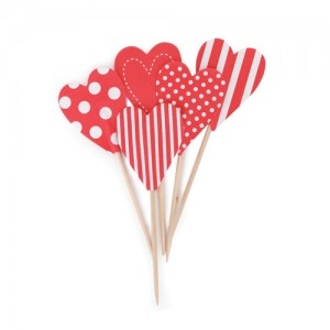Cupcake Toppers ~ Candy Red Hearts