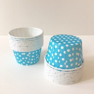 Beach blue spotty baking cups and candy cups.