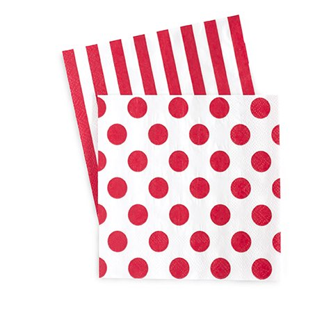 candy cane red paper napkins red stripes spots serviettes