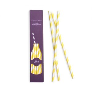 Yellow & White Stripe Paper Straws by Paper Eskimo.