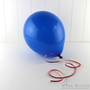 Blue Balloons you can inflate with helium or air.