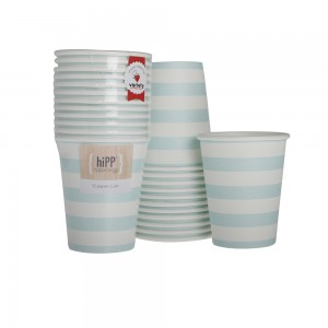 Paper Cups ~ Duck Egg Blue Stripe