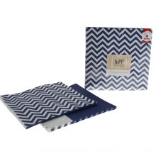 Paper Napkins ~ Navy Chevron & Stripe