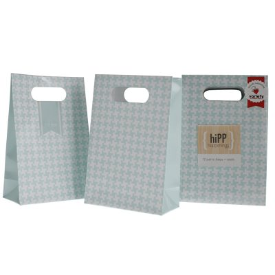 Party Bags & Seals ~ Duck Egg Blue Houndstooth