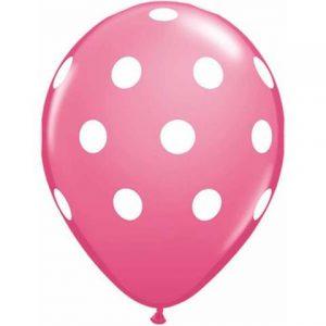 Rose Pink Big Polka Dots Balloons by Qualatex