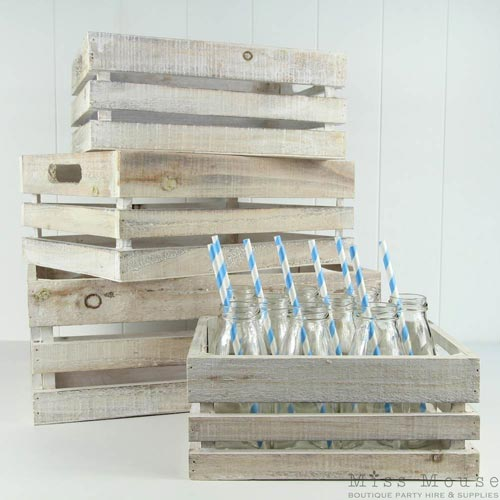 Whitewash Wooden Crates