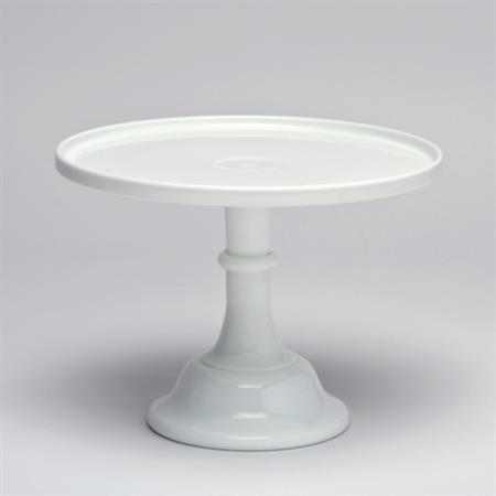 Milk Glass Pedestal 24cm ~ White