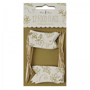 Food Flags ~ Elegant Gold Floral