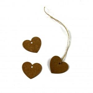 Mini Heart Tags ~ Kraft