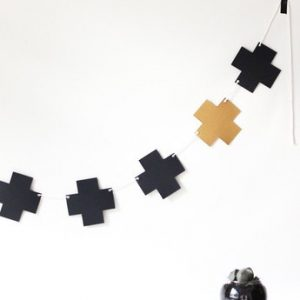 Swiss Cross Garland ~ Black & Gold