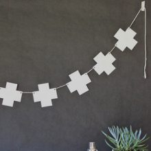 Swiss Cross Garland ~ White
