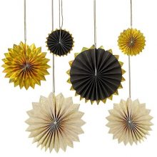 Black & Gold Pinwheel Decorations by Meri Meri available in NZ.