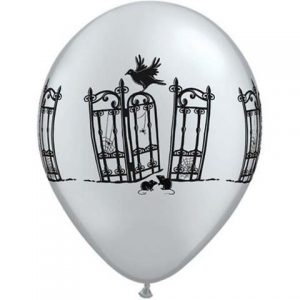 Silver Haunted Iron Gates Balloons for Halloween