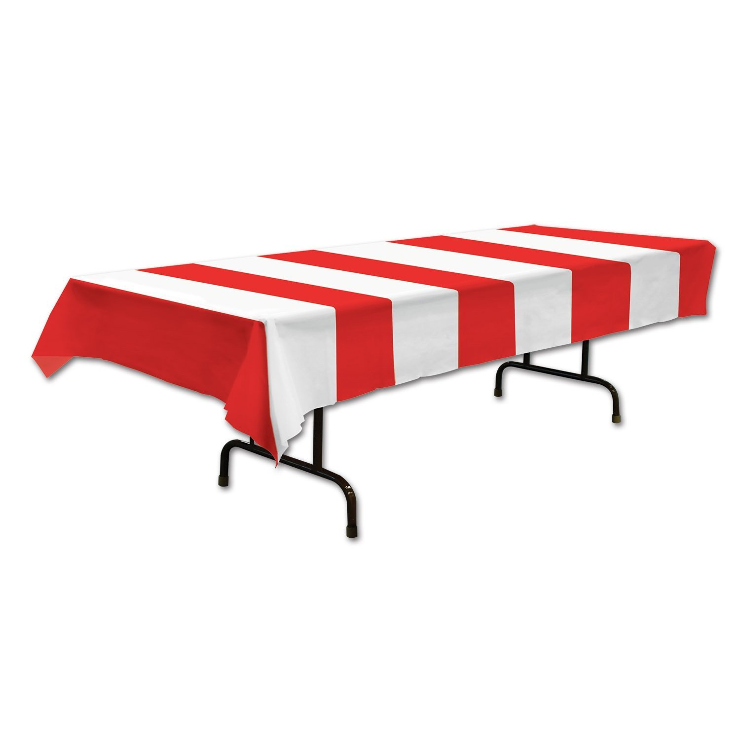 Red White Stripe Table Cover Home Party Supplies