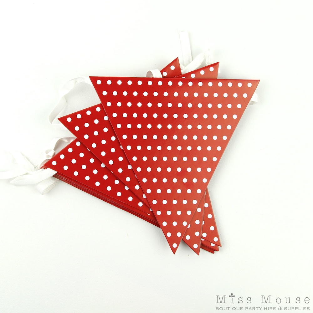 Polkadot Bunting Flags ~ Red