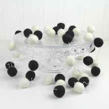 Felt Ball Garland ~ Black White
