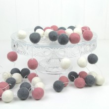 Felt Ball Garland ~ Pink & Grey