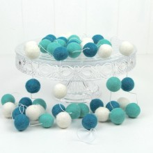 Felt Ball Garland ~ Teal Ombre
