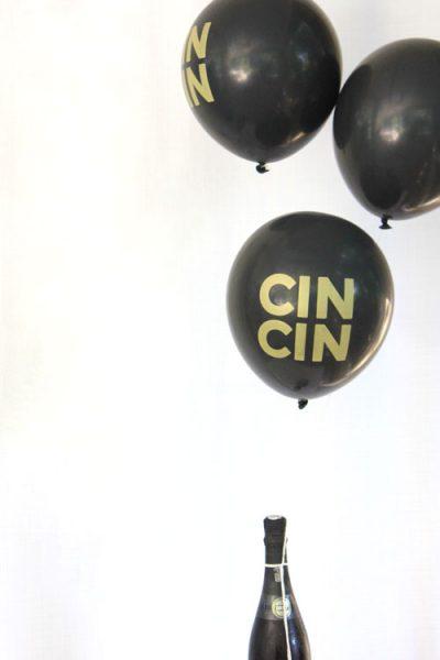 Black & Gold Cin Cin Balloons