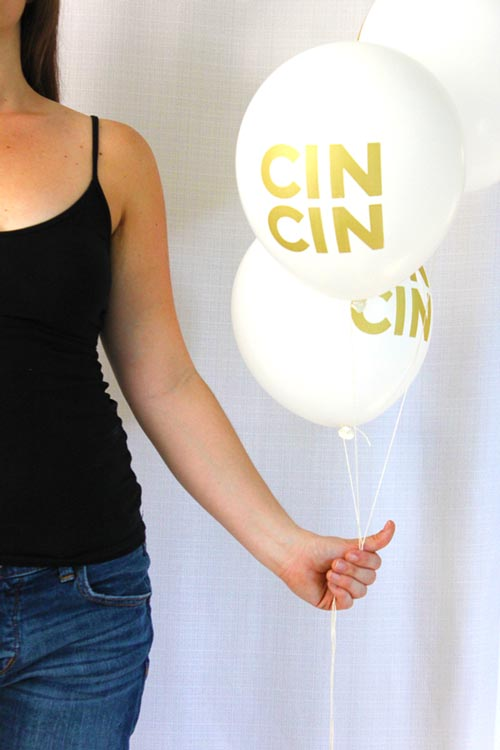 White & Gold Cin Cin Balloons