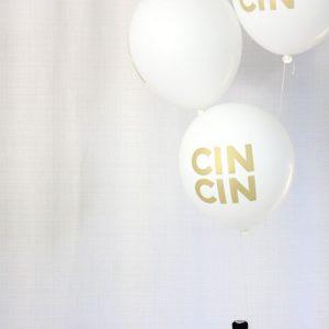 White & Gold Cin Cin Balloons