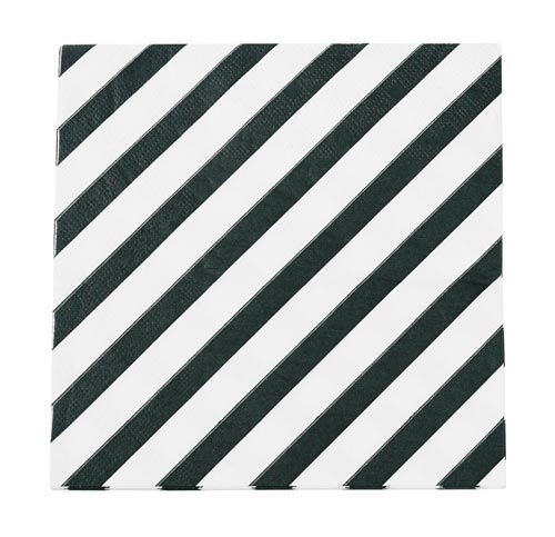 Black Diagonal Stripe Paper Napkins