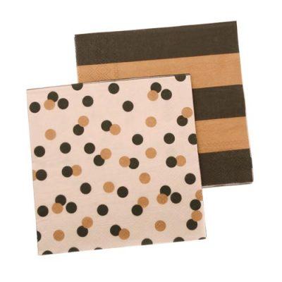 Paper Napkins ~ Confetti & Black / Gold Stripe