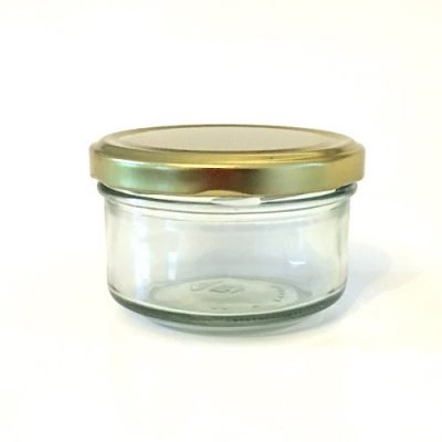 186ml round glass preserving jar with gold lid
