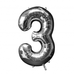Supershape Silver Balloon ~ Number 3