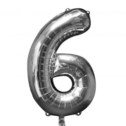 Supershape Silver Balloon ~ Number 6