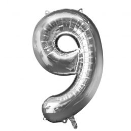 Supershape Silver Balloon ~ Number 9