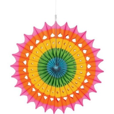 Use the Fiesta Hanging Paper Fan for your Mexican fiesta party decorations!