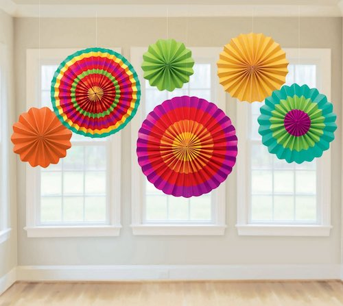 Fiesta Paper Fans for Mexican party theme.