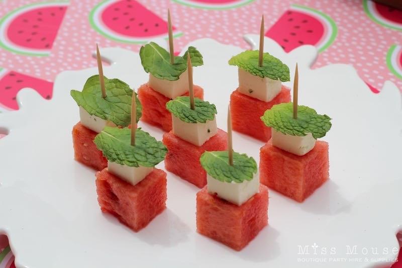 Watermelon, Feta & Mint Skewers