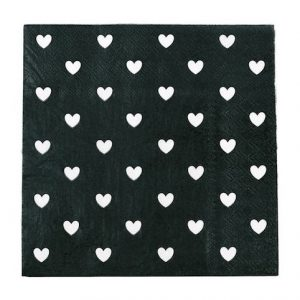 Black & White Hearts Paper Napkins
