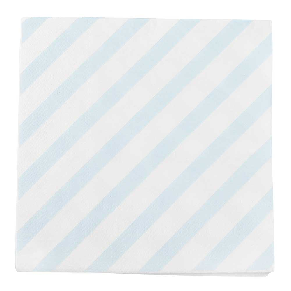 Blue Diagonal Stripe Paper Napkins