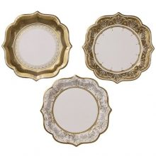 Party Porcelain Gold Dinner Plates