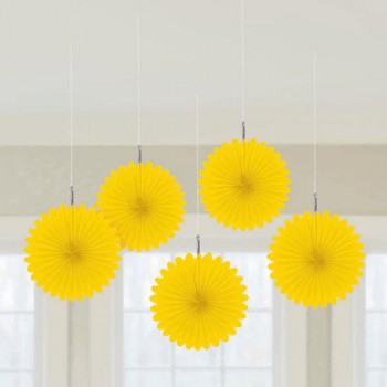Yellow Mini Paper Fans