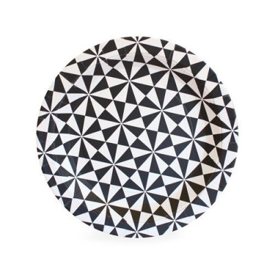The Black Geo Dessert Plates by Paper Eskimo are a striking party plate.