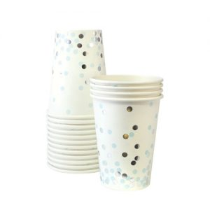The Blue Confetti paper cups by Paper Eskimo feature soft blue and silver confetti spots on a white party cup.