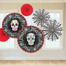 The Blood and Bone Hanging Paper Fans are perfect for your Day of the Dead party!