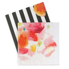 The Floral Escape paper napkins feature a pink floral watercolour design with a black and white stripe print.