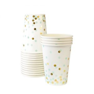 The Mint To Be paper cups feature mint and gold confetti spots on a white background